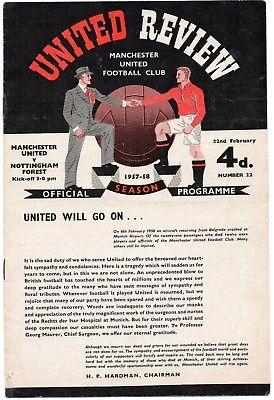 57/58 No.22 Manchester United V Nottingham Forest With Token Very Good