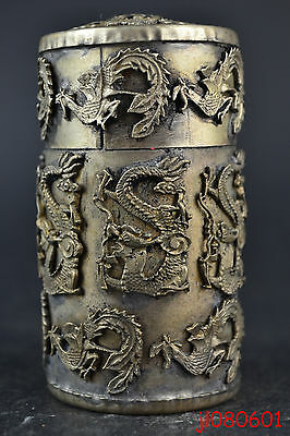 Collectible Handmade Tibet Silver Dragon Phoenix Old Toothpick rouge Box