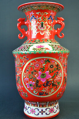 Vintage Fine Collectible Old Porcelain Painting Big Red Exquisite Nice Vase