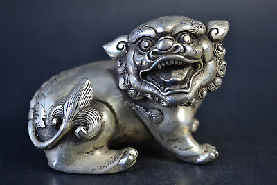 China Myth Collectible Old Copper Silver Plating Pixiu Dragon Lucky Statue Noble