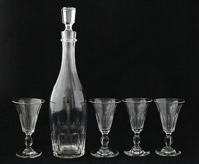 antique glas 19th C faceted crystal Wine Sherry Port Decanter & 4 Glasses
