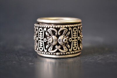 Collectible Vintage China Old Tibet Silver bat 丰 Noble relief 2 layer Ring