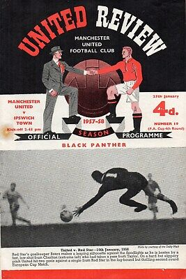 1957/58 No.19 Manchester United V Ipswich Town Fac With Token Very Good