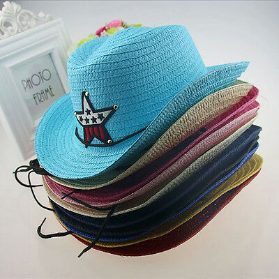 Baby Kids Children Boys Girls Straw Western Cowboy Sun Hats Sunwear Caps Pop