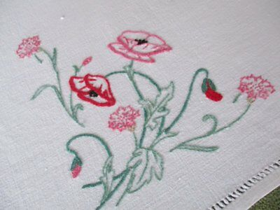 Vintage Tablecloth - Poppies - Hand Embroidered