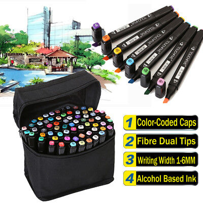 80Colors Pen Markers Set Art Sketch Twin Point School Drawing