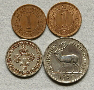 MAURITIUS 1/4 & Half Rupee 1950-1951, 1 Cent 1962-65 - Lot of 4 Coins, NR!