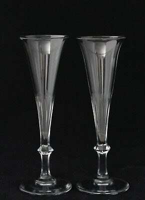 2x an antique, early 19th C. faceted crystal Champane Glass, Flutes