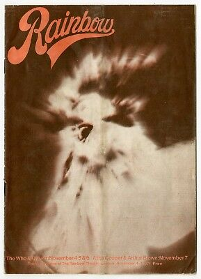 The Who 1971 Rainbow Theatre London UK Programme Alice Cooper