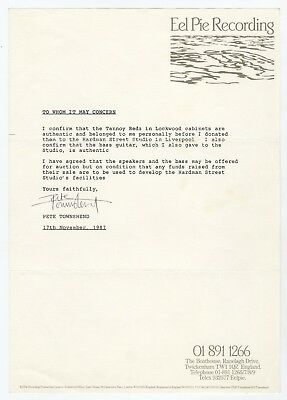 Pete Townshend 1987 Signed Eel Pie Recording Letter The Who