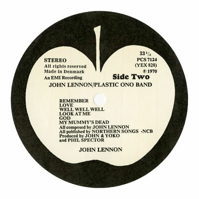 John Lennon 1970 Plastic Ono Band Unused Apple Record Labels Denmark