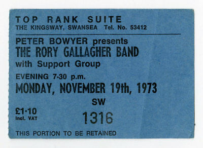 Rory Gallagher 1973 Top Rank Suite Swansea UK Concert Ticket Stub