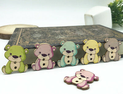 20 Wooden Teddy Bear Sewing Buttons Mixed colours 3.2cm x 2.4cm Free P/&P