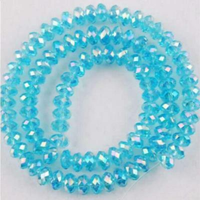 2017 Faceted Rondelle Bicone Glass Crystal Jewelley Beads AB Sky Blue 6mm 49pc