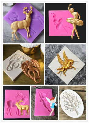 High Quality Xmas Deer Dragon Silicone Baking Molds Fondant Cake Chocolate Mould
