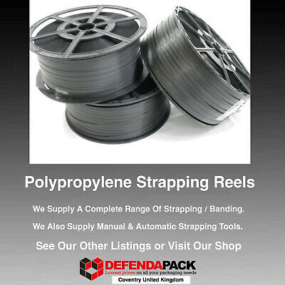 3 x 300kg 12mm x 1000m Polypropylene PLASTIC PALLET STRAPPING BANDING REELS COIL