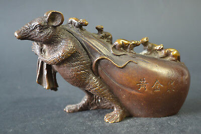 Collectible China Handwork Old Copper Mice Carry Baby Decor Statue Noble