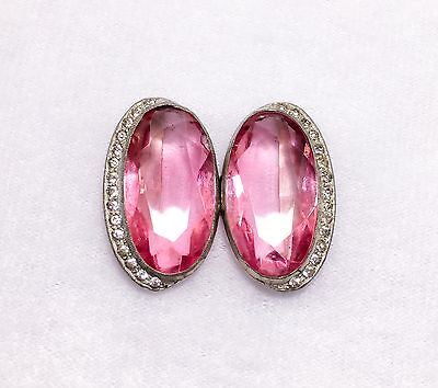 Stunning Rare Art Deco Large Deep Pink Facetted Crystal Paste Buckle