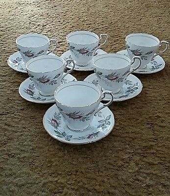 Vintage Paragon Bridal Rose pattern coffee set. Consists of x6  cups & saucers.