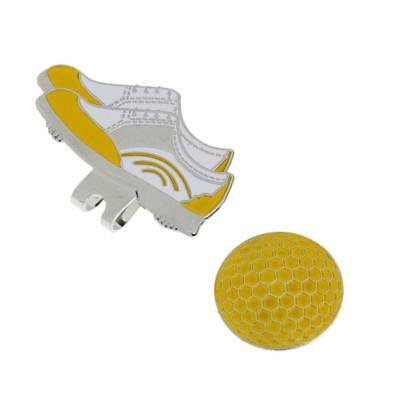 Shoe Pattern Golf Magnetic Visor & Hat Clip with Golf Ball Makrer Yellow