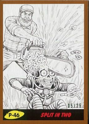 Mars Attacks The Revenge Bronze [25] Pencil Art Base Card P-46 Split in Two