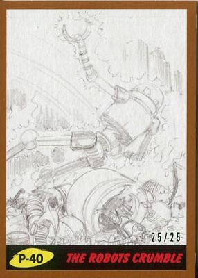 Mars Attacks The Revenge Bronze [25] Pencil Art Base Card P-40 The Robots Crum