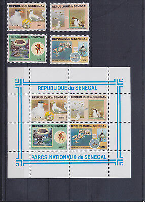 054866 Vögel Birds Senegal 741-44 + Block 40 ** MNH Year 1981