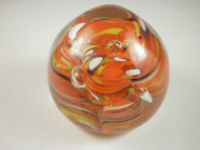 Red & White Layered Glass Small Paperweight