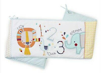 New Next Yellow White Little Zoo Nursery Bumper Cot Bed Baby Cotbed Reversible
