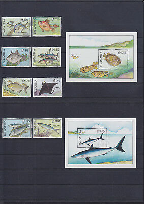 054902 Fische Fish Gambia 914-21 + Block 76/77 ** MNH Year 1989