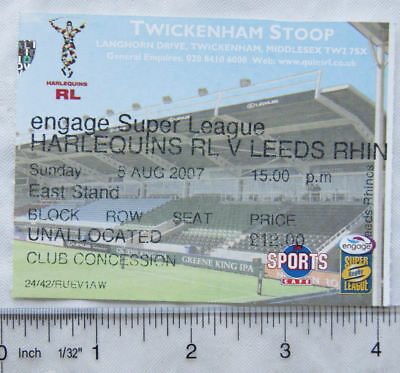 2007 ticket Harlequins v. Leeds Rhinos, concession