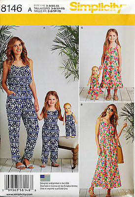 """Simplicity Sewing Pattern 8146 Misses 6-24 Girls 3-8 & 18"""" Doll Jumpsuits, Dress"""