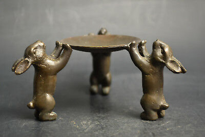 China Collectible Decorate Handwork Old Copper 3 Rabbit Delicate Candlestick
