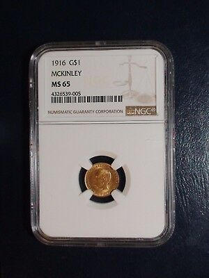 1916 McKINLEY Gold One Dollar NGC MS65 GEM $1 Coin Auction Starts At 99 Cents!