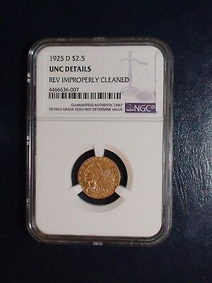 1925 D Gold $2.5 NGC UNC Detail Indian Head 2 1/2 Dollar Coin Starts At 99 Cents