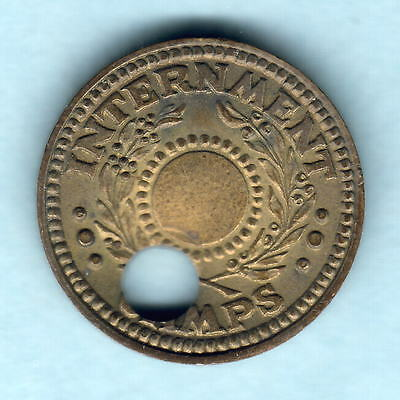 Australia - Internment Camps. WW.11 One Penny.. Central Hole off centre 6mm. gEF