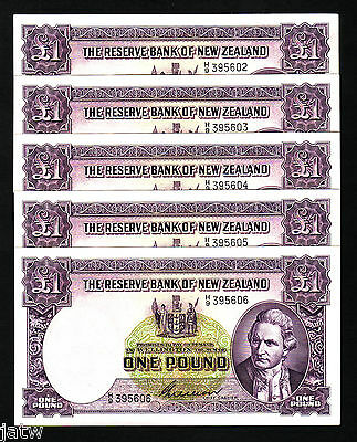 NEW ZEALAND P-159b. (1955-56) One Pound - Wilson. H/9 Prefix. CONSEC Run of 5