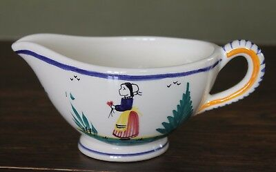 Henriot Quimper Sauce or Gravy  Boat Decorated with Breton Lady D201 F301 P