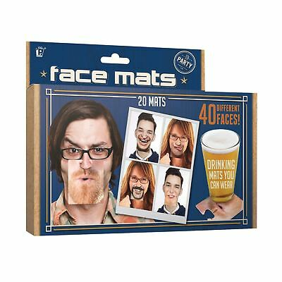 20 Double Sided Beer Face Mats V3 Novelty Movember Clip On Beer Drinks Mat