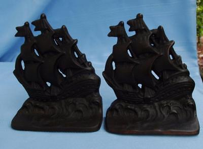 Vintage Pair of Heavy Cast Iron Columbus Santa Maria Bookends