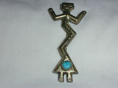 Great! Sterling Abstract Figural Brooch With Turquoise!