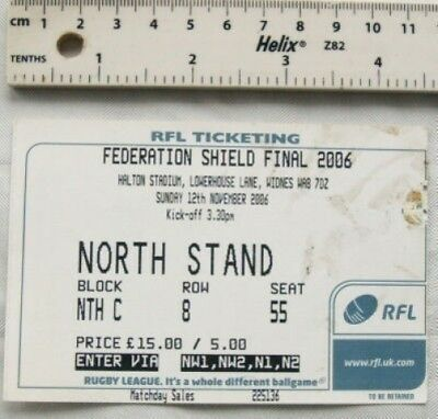 2006 ticket Federation Shield Final, Rugby League