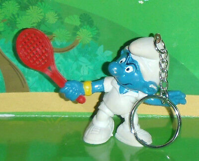 Vintage Keychain Tennis Smurf With A Red Racket 1979 Portugal Smurf Lot