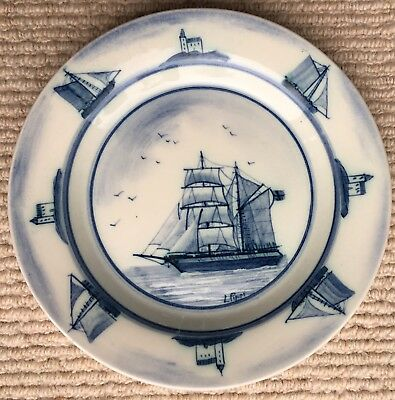 Iden Rye Pottery Plate Signed L Piper dated 8/94 to base Sailing Boat Design