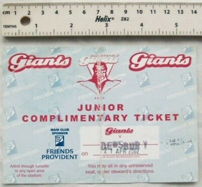 2002 ticket Huddersfield Giants v. Dewsbury Rams, Junior Complimentary