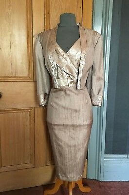 Gorgeous Roman Praline/gold Mother Of The Bride/evening Dress & Jacket, Size 14