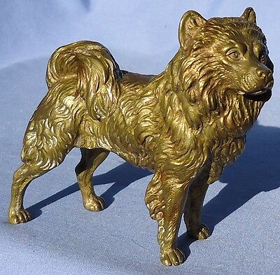 Antique Vienna Bronze Samoyed Spitz Chow Chow Dog Austria 5""