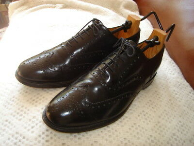 Vintage George Chrome Leather Black Brogues 11
