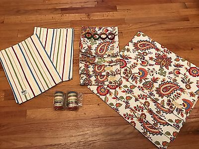Park Designs Paisley & Striped Placemats Napkins Salt Pepper Napkin Rings Towels