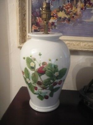 Rare  Summer Strawberries large Lampbase Portmeirion Vintage